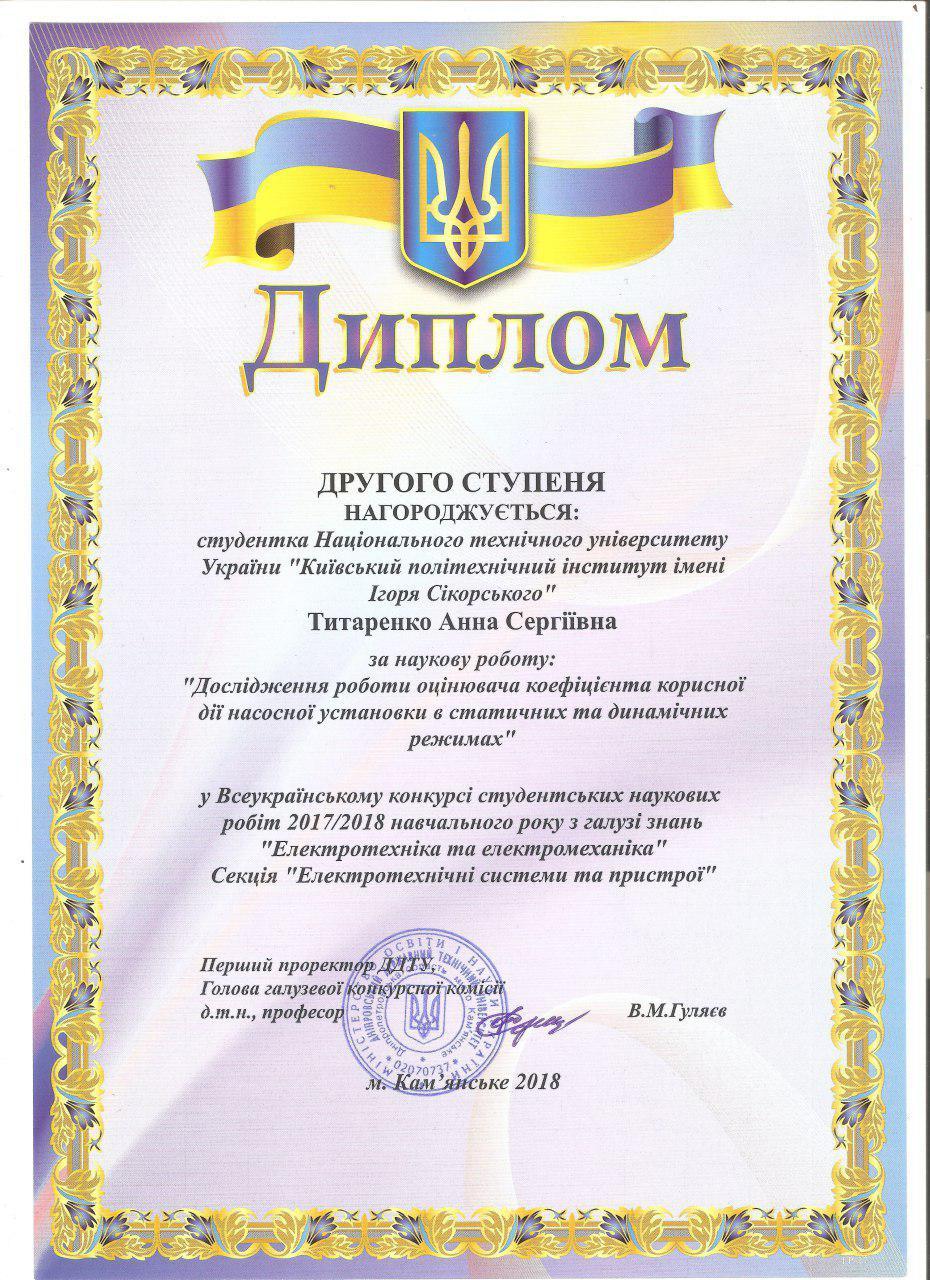 Перемога в конкурсі 2018 Титаренко
